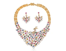 Necklace Earrings Set Colorful Crystal Rp 891.180