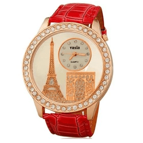 Watch with Faux Leather Strap Red Rp 88.985